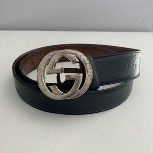 Auth Gucci Monogram Leather Belt